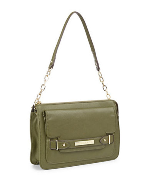 Anne Klein Military Luxe Tab Front Handbag - OLIVE