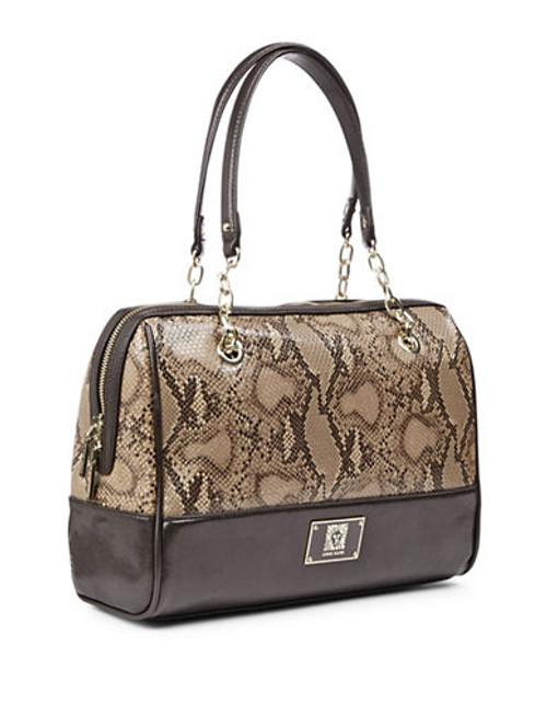 Anne Klein Change The Channel II Snakeskin Handbag - Toffee/Brown