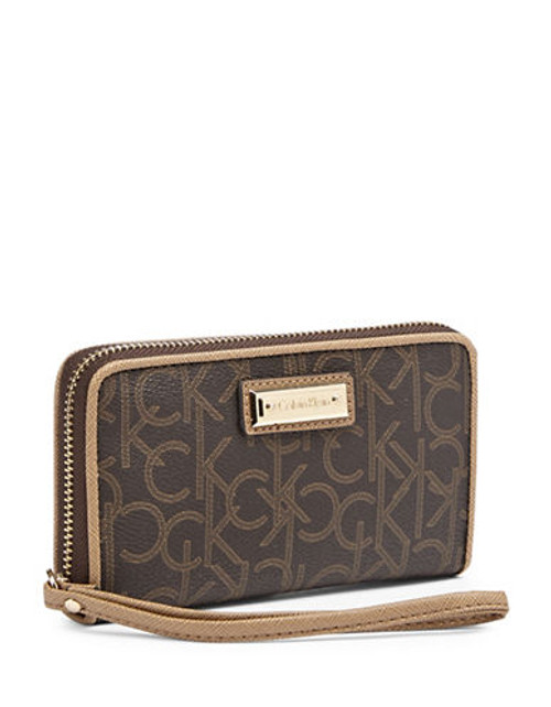 Calvin Klein Monogram Leather Wallet with Phone Pocket - Brown