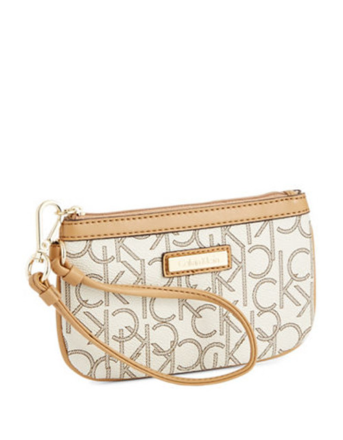 Calvin Klein Leather Monogram Wristlet - Beige
