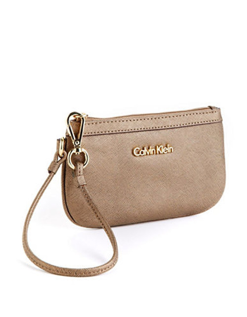 Calvin Klein Saffiano Leather Wristlet - Bronze