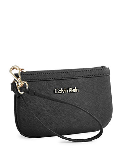 Calvin Klein Saffiano Leather Wristlet - Black