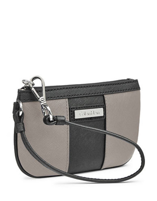 Calvin Klein Saffiano Leather Wristlet - Smoke/Black