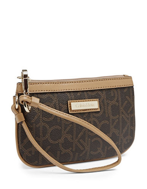 Calvin Klein Leather Monogram Wristlet - Brown