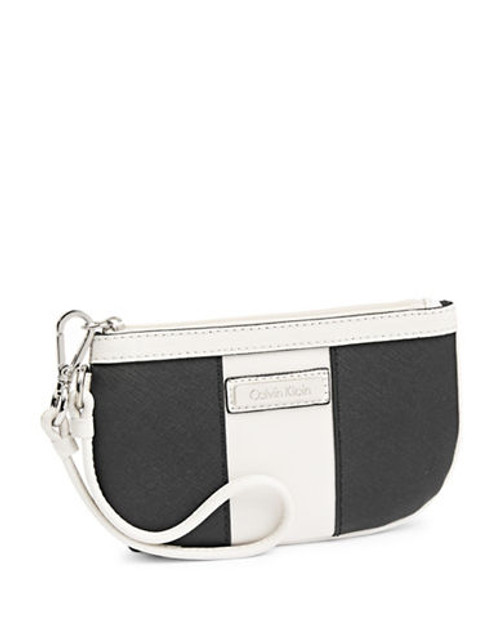 Calvin Klein Saffiano Leather Wristlet - Black/White