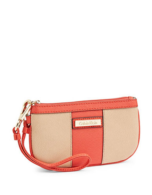 Calvin Klein Saffiano Leather Wristlet - Nude/Orange