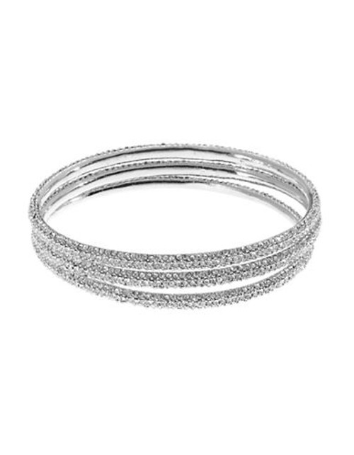 A.B.S. By Allen Schwartz 3 Piece Pave Bangle Set - Silver