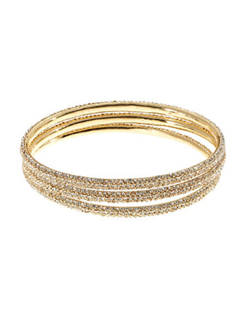 A.B.S. By Allen Schwartz 3 Piece Pave Bangle Set - Gold
