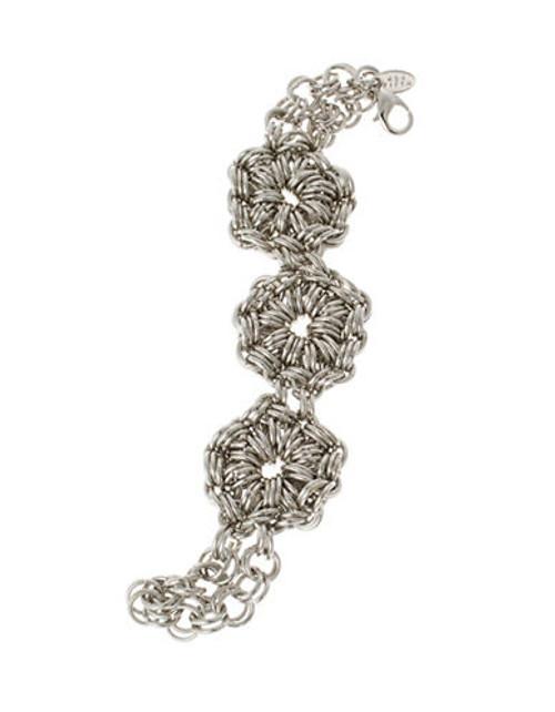 424 Fifth Mesh Flower Chain Bracelet - Silver