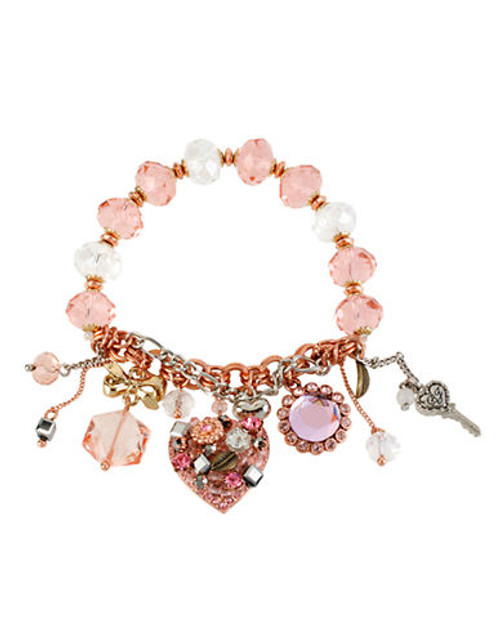 Betsey Johnson Vintage Heart Multi Charm Half Stretch Bracelet - PINK