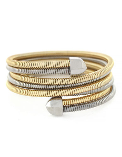 Bcbgeneration Coil Bracelet Item Gold and Light Antique Rhodium Plated 2 Tone Stretch Wrap Bracelet - Grey