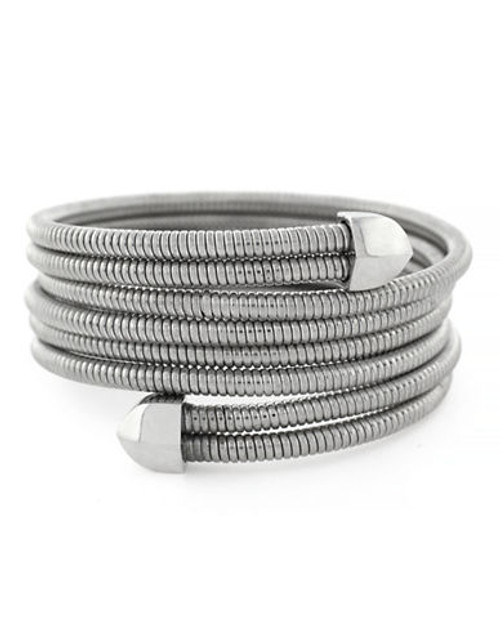 Bcbgeneration Coil Bracelet Item Light Antique Rhodium Plated Stretch Wrap Bracelet - Grey