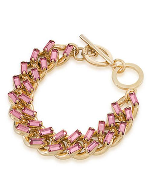 Carolee Modern Rosé Baguette Chain Linked Bracelet Gold Tone Crystal Chain Bracelet - Pink