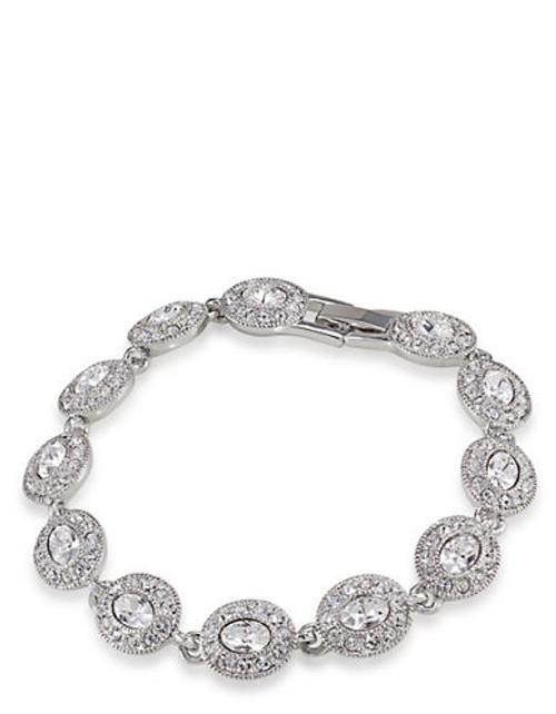 Carolee Oval Crystal Stone Bracelet - Silvertone