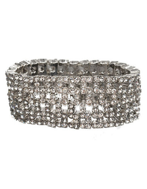 Anne Klein Wide Stretch Bracelet - Crystal
