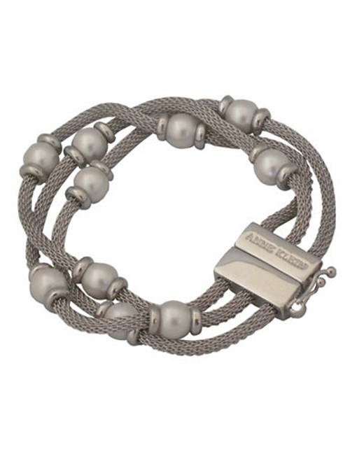 Anne Klein 3 Row Mesh Bracelet With Pearl - Silver