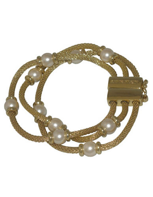 Anne Klein 3 Row Mesh Bracelet With Pearl - Pearl