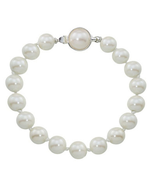 Carolee 8Mm One Row White Pearl Bracelet - Silvertone - Multiple