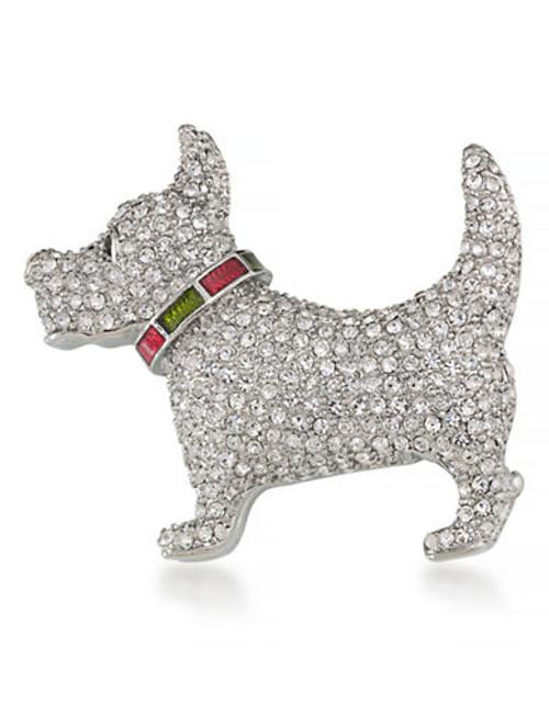 Carolee Trustworthy Terrier Pin Silver Tone Crystal  Brooch - Silver