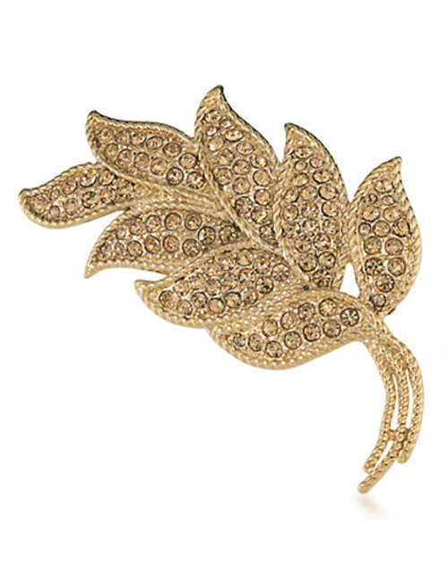 Carolee Leaf in the Wind Pin Gold Tone Crystal  Brooch - Gold