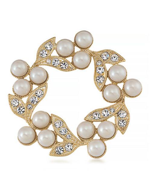 Carolee Adoring Pearl Wreath Pin Gold Tone Crystal  Brooch - Gold