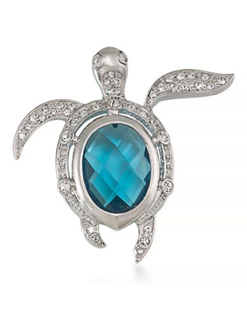 Carolee Treasure of the Sea Pin Silver Tone Crystal  Brooch - Blue