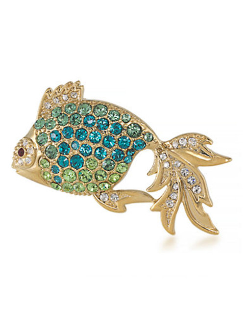 Carolee Majestic Sea Dweller Pin Gold Tone Crystal  Brooch - Blue