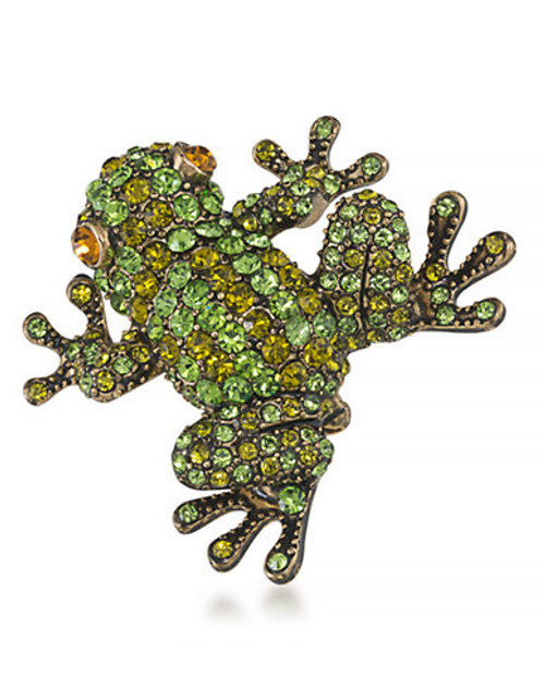Carolee Leap into Style Pin Gold Tone Crystal  Brooch - Green