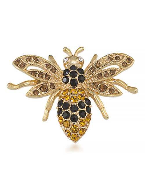 Carolee Honey Bee Good Pin Gold Tone Crystal  Brooch - Gold