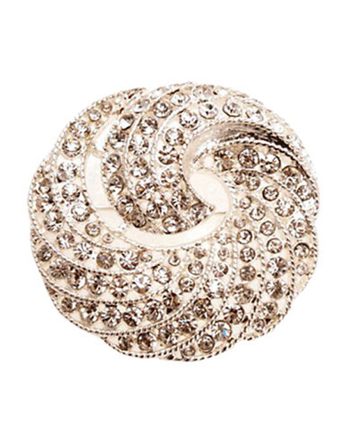 Jones New York Boxed Silver Crystal Swirl Pin - Silver/Crystal