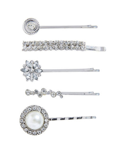 Expression Five Piece Bejewelled Bobby Pin Set - Silver