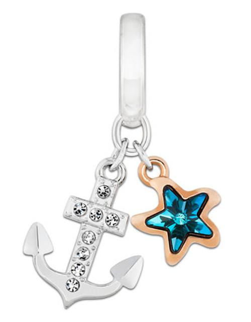 Swarovski Anchor Charm - Silver