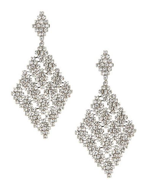 A.B.S. By Allen Schwartz Diamond Shape Chandelier Earrings - Silver