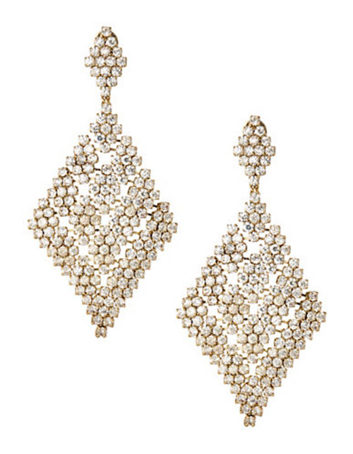 A.B.S. By Allen Schwartz Faux Crystal Chandelier Earrings - Gold