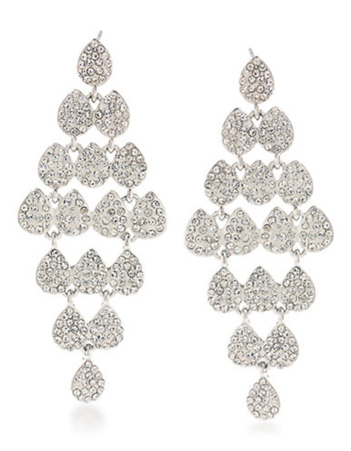 Carolee Holiday Cocktails Chandelier Pierced Earrings Silver Tone Crystal Chandelier Earring - Silver