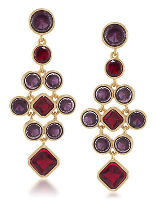 Carolee Berry Chic Large Chandelier Pierced Earrings - Red