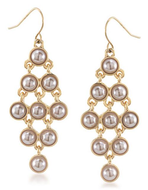 Carolee Champagne Bubbles Kite Chandelier Pierced Earrings Gold Tone Drop Earring - Silver