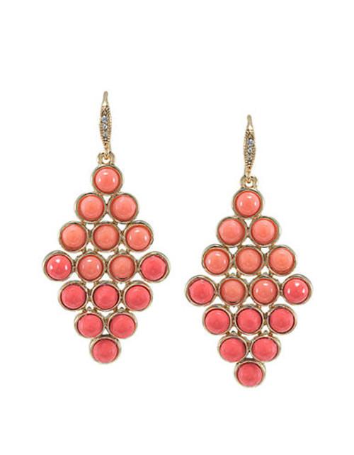 Carolee Coral Croquet Chandelier Pierced Earrings - Red