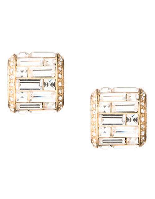 Carolee Golden Dreams Deco Crystal Baguette Button Clip On Earrings Gold Tone Crystal Clip On Earring - Gold