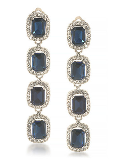 Carolee Hera Silver Linear Clip On Earrings Silver Tone Crystal Clip On Earring - Blue