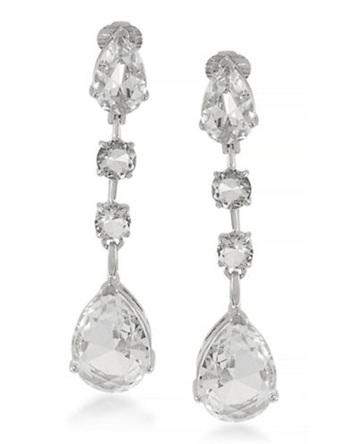 Carolee Aphrodite Clear Linear Drop Clip On Earrings Silver Tone Crystal Clip On Earring - Silver