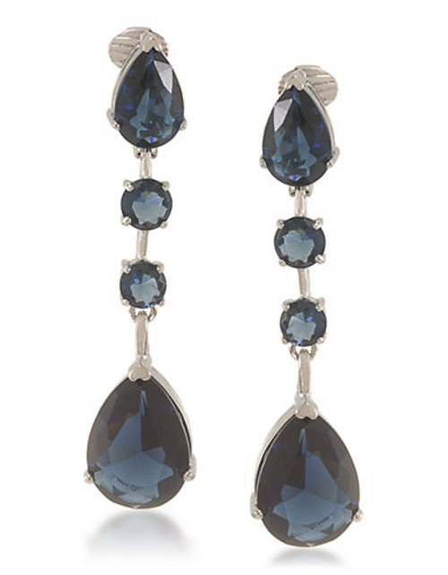 Carolee Aphrodite Blue Linear Drop Clip On Earrings Silver Tone Crystal Clip On Earring - Blue