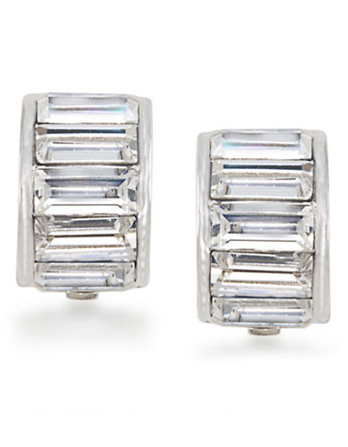 Carolee Dark Star Baguette Half Hoop Clip On Earrings - Silver
