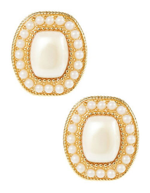 Carolee Faux Pearl Rectangular Clip On Earrings - white