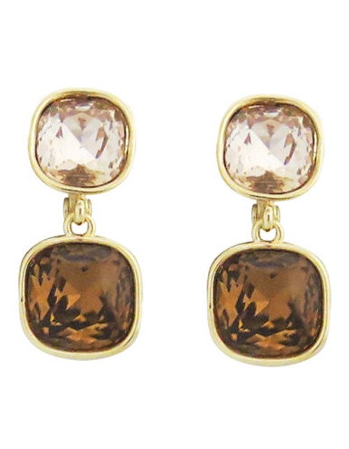 Anne Klein Metal Crystal Clip On Earring - Brown