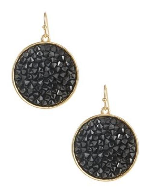 A.B.S. By Allen Schwartz Framed Faceted Stone Drop Earrings - BLACK