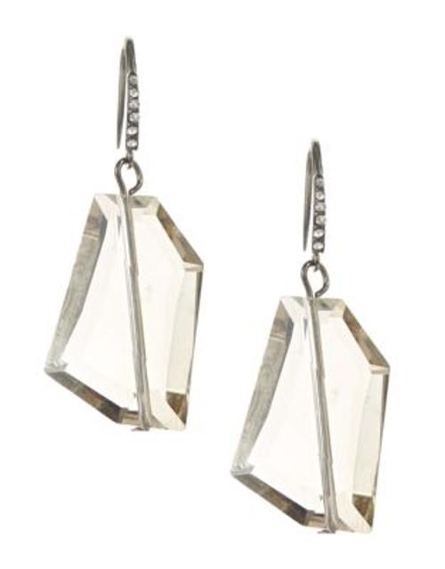 A.B.S. By Allen Schwartz Faceted Stone Drop Earrings - SILVER