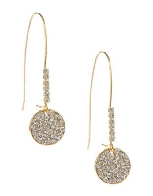 A.B.S. By Allen Schwartz Fish Hook Wire Pave Drop Earrings - GOLD