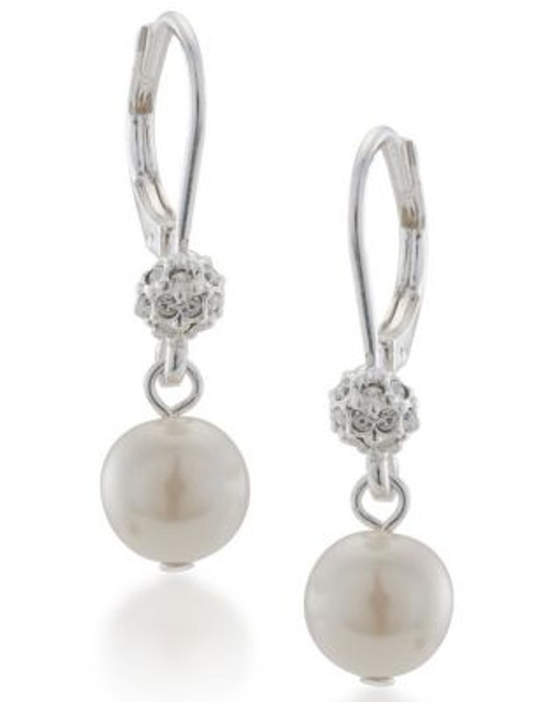 Carolee Crystal And Pearl Linear Drop Earrings - SILVER