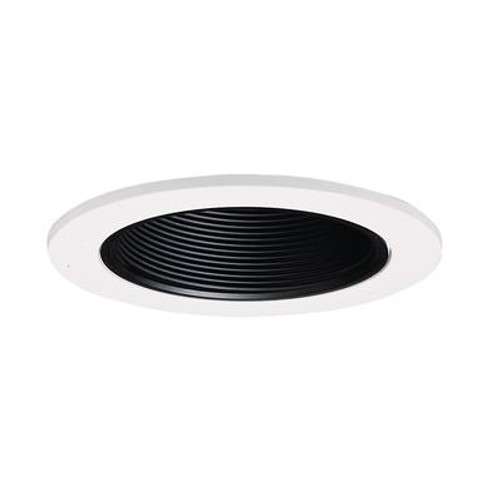 Black Baffle with Satin White Trim Ring-4 Inch Aperture